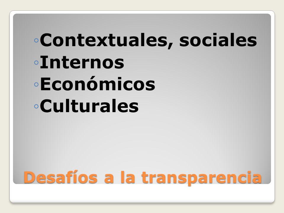Desafíos a la transparencia Contextuales, sociales Internos Económicos Culturales
