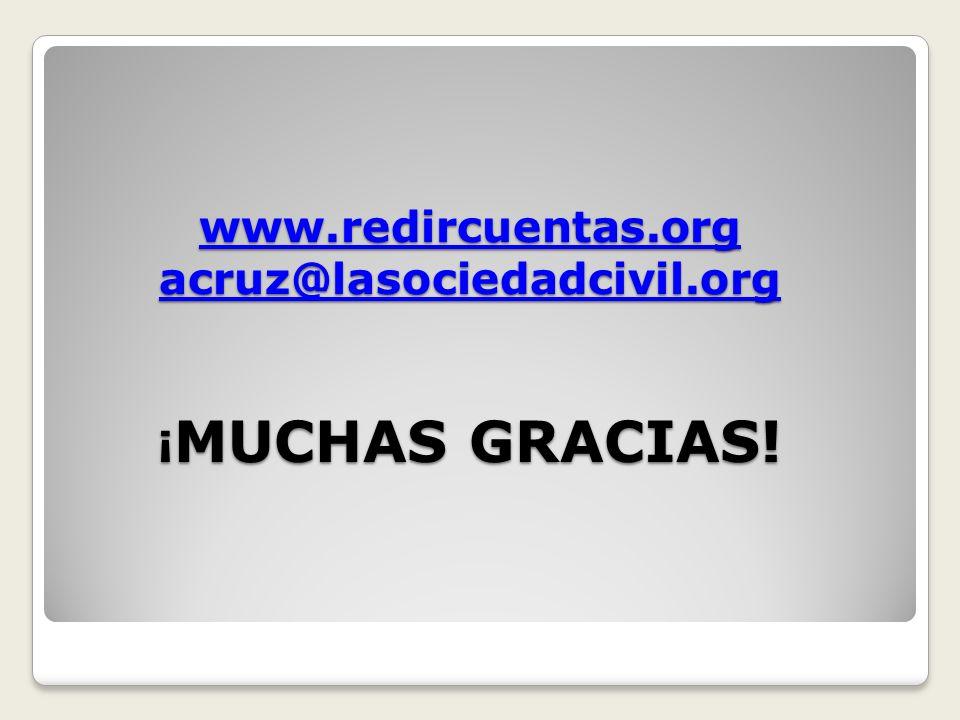 www.redircuentas.org acruz@lasociedadcivil.org www.redircuentas.org acruz@lasociedadcivil.org ¡ MUCHAS GRACIAS.