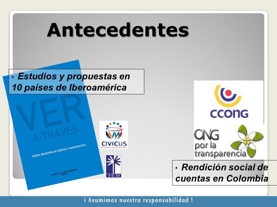 Antecedentes Estudios y propuestas en 10 países de Iberoamérica Rendición social de cuentas en Colombia