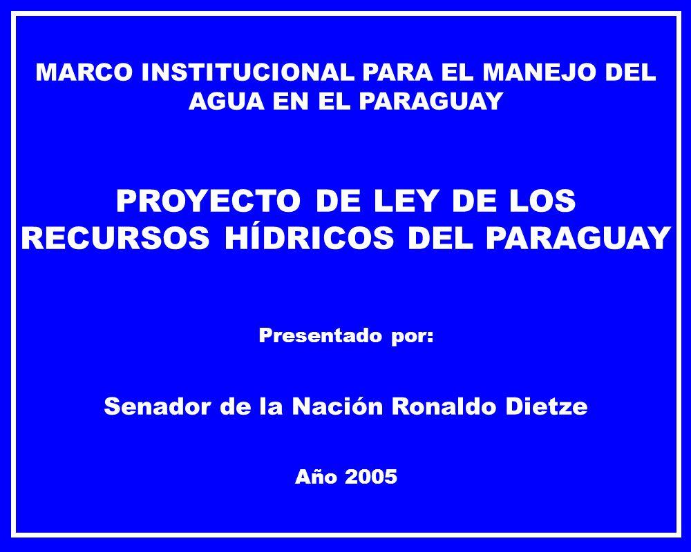 MARCO INSTITUCIONAL PARA EL MANEJO DEL AGUA EN EL PARAGUAY PROYECTO DE LEY DE LOS RECURSOS HÍDRICOS DEL PARAGUAY Presentado por: Senador de la Nación