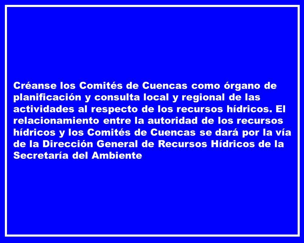 Créanse los Comités de Cuencas como órgano de planificación y consulta local y regional de las actividades al respecto de los recursos hídricos. El re
