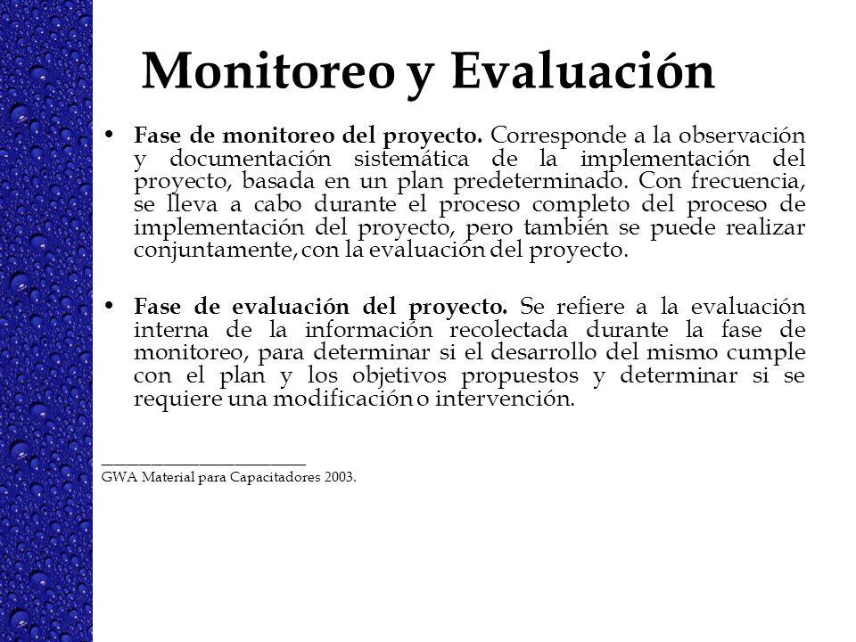Monitoreo y Evaluación Fase de monitoreo del proyecto. Corresponde a la observación y documentación sistemática de la implementación del proyecto, bas