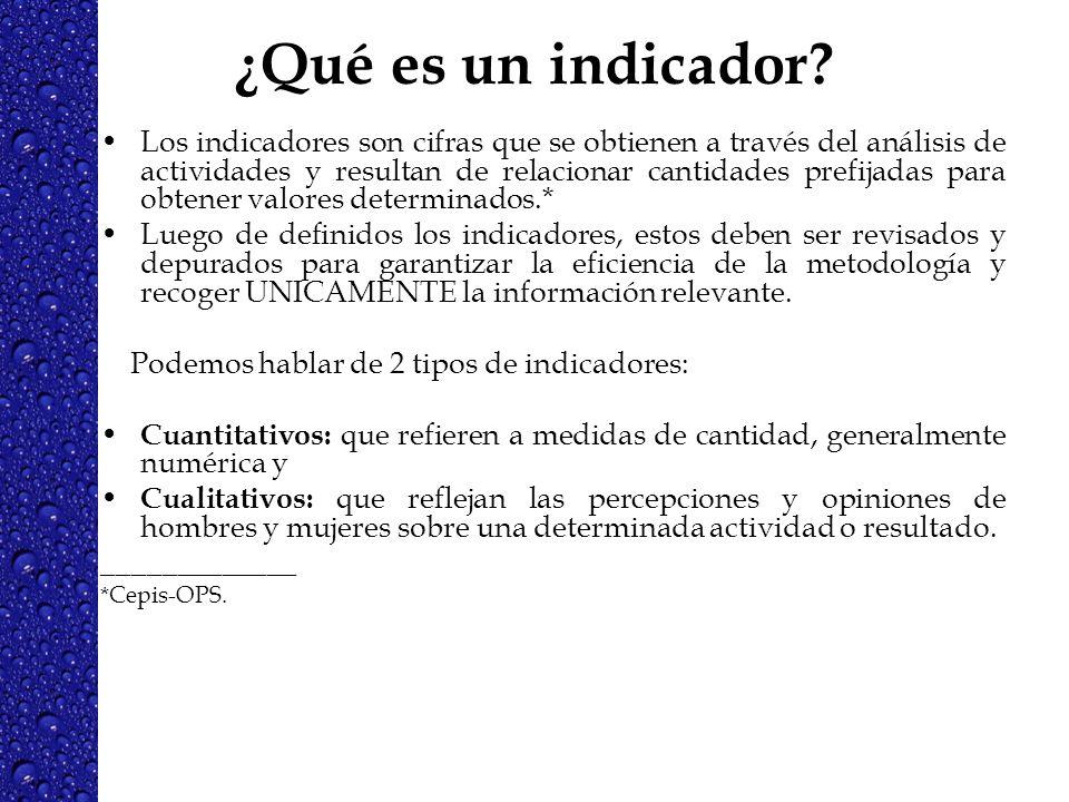 ¿Qué es un indicador? Los indicadores son cifras que se obtienen a través del análisis de actividades y resultan de relacionar cantidades prefijadas p