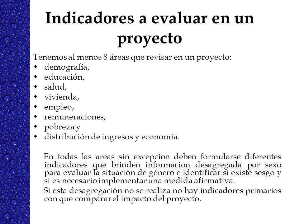 Indicadores a evaluar en un proyecto Tenemos al menos 8 áreas que revisar en un proyecto: demografía, educación, salud, vivienda, empleo, remuneracion