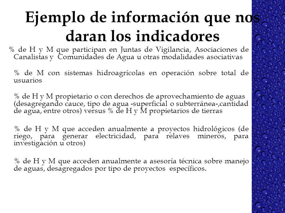 Ejemplo de información que nos daran los indicadores % de H y M que participan en Juntas de Vigilancia, Asociaciones de Canalistas y Comunidades de Ag