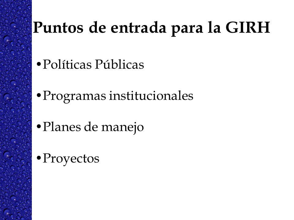 Puntos de entrada para la GIRH Políticas Públicas Programas institucionales Planes de manejo Proyectos