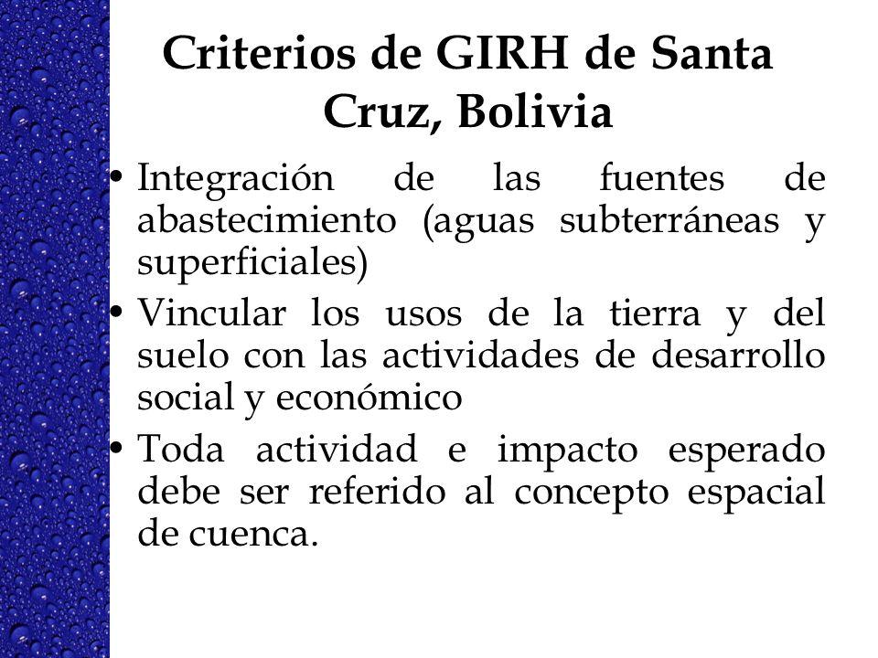 Criterios de GIRH de Santa Cruz, Bolivia Integración de las fuentes de abastecimiento (aguas subterráneas y superficiales) Vincular los usos de la tie