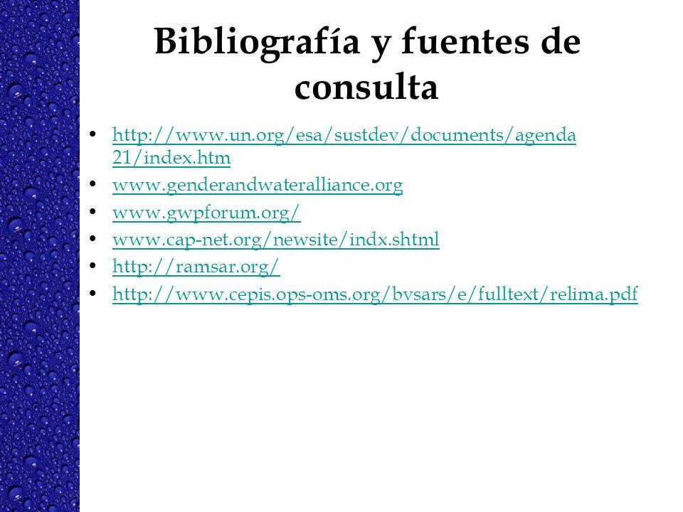 Bibliografía y fuentes de consulta http://www.un.org/esa/sustdev/documents/agenda 21/index.htmhttp://www.un.org/esa/sustdev/documents/agenda 21/index.