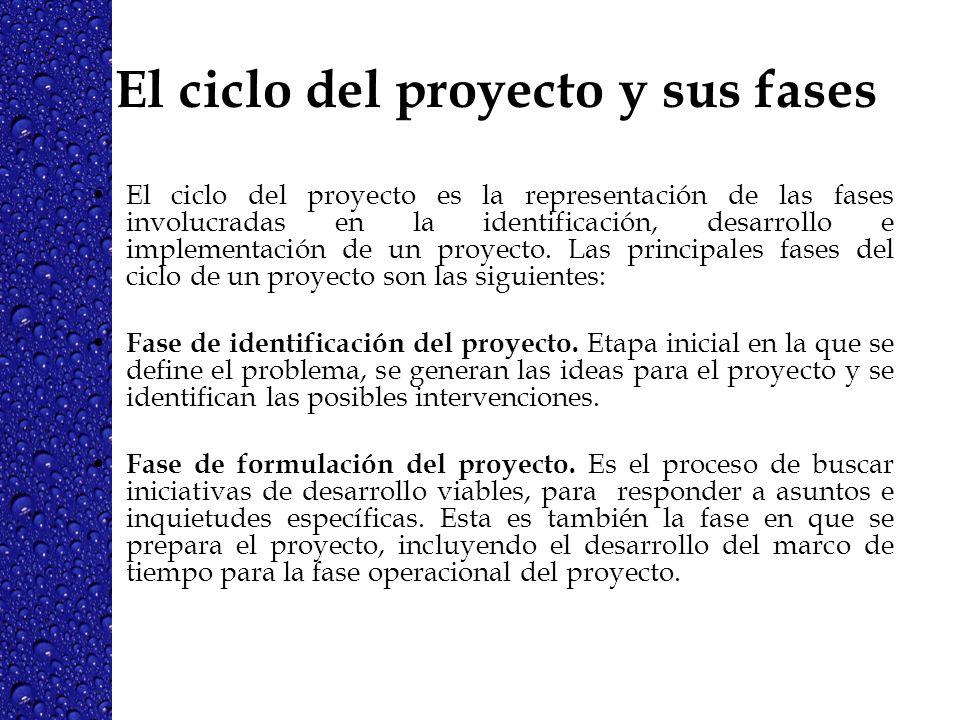 El ciclo del proyecto y sus fases El ciclo del proyecto es la representación de las fases involucradas en la identificación, desarrollo e implementaci