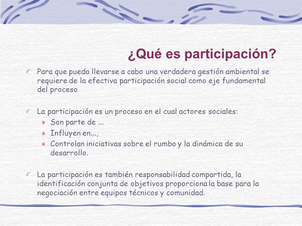¿Qué es participación? Para que pueda llevarse a cabo una verdadera gestión ambiental se requiere de la efectiva participación social como eje fundame