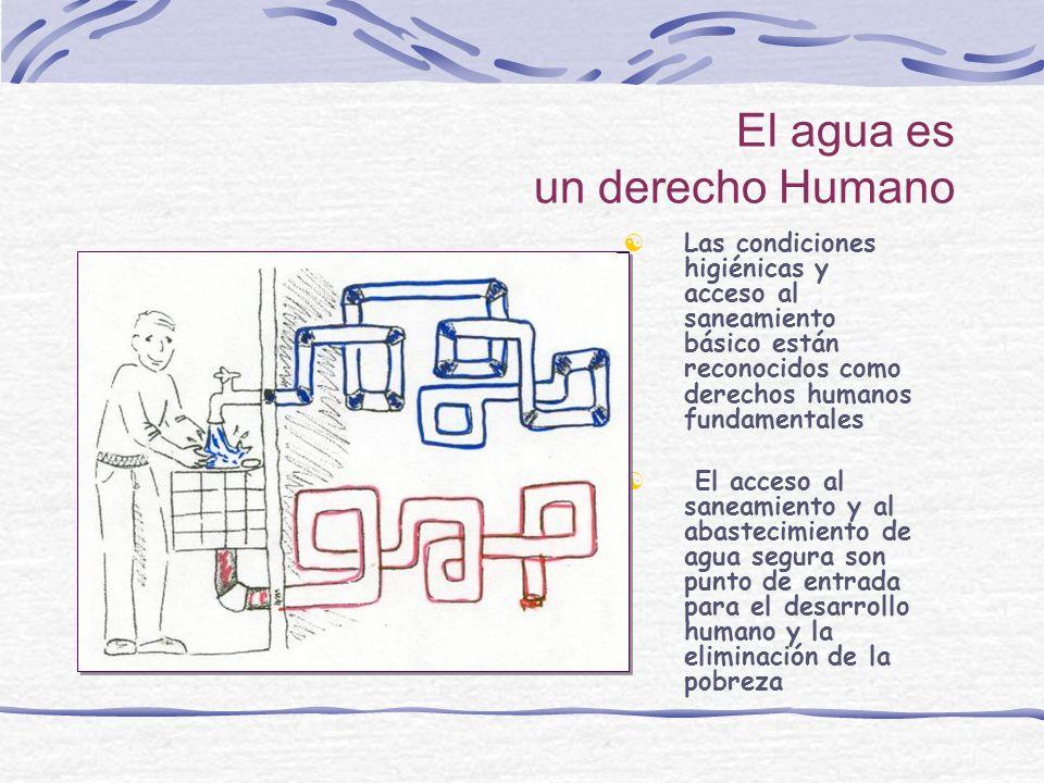 El agua es un derecho Humano Las condiciones higiénicas y acceso al saneamiento básico están reconocidos como derechos humanos fundamentales El acceso