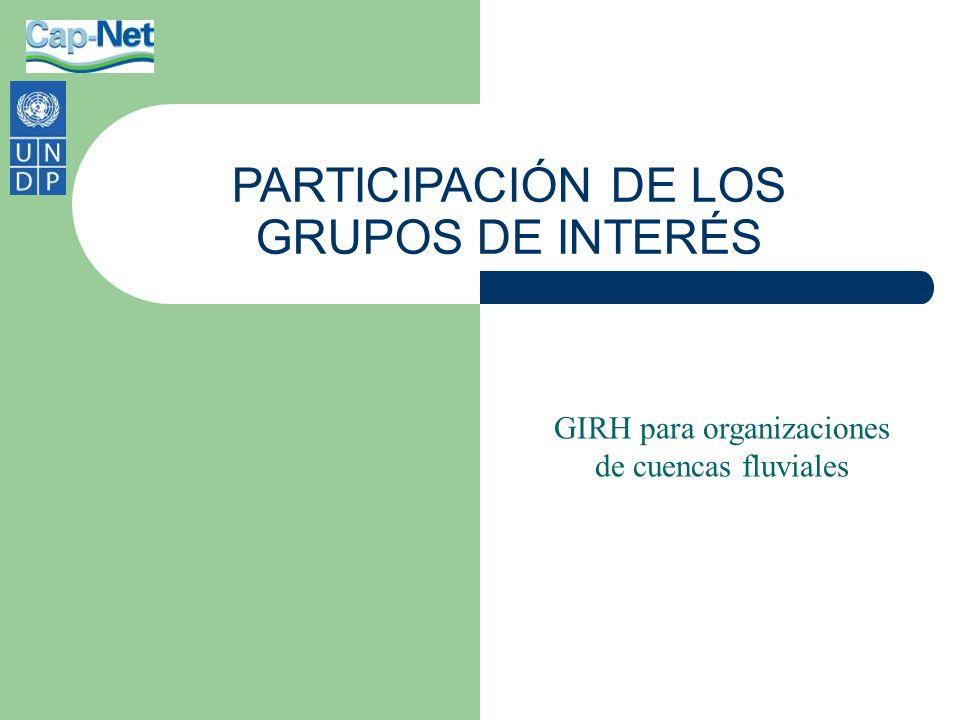 Sin diseño Los grupos de interés se diversifican con frecuencia La OCF debe adoptar un rol de conducción Organización y estructura de los grupos de interés Participación de los grupos de interés
