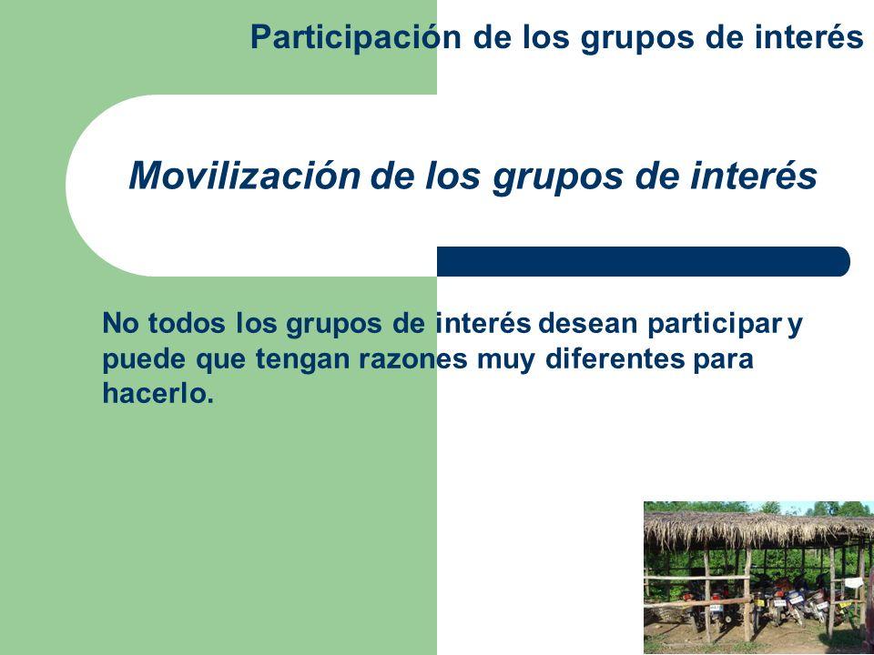 No todos los grupos de interés desean participar y puede que tengan razones muy diferentes para hacerlo. Movilización de los grupos de interés Partici