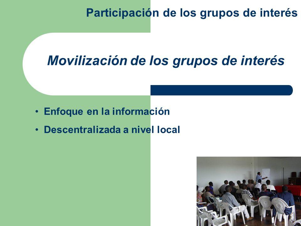 Enfoque en la información Descentralizada a nivel local Movilización de los grupos de interés Participación de los grupos de interés