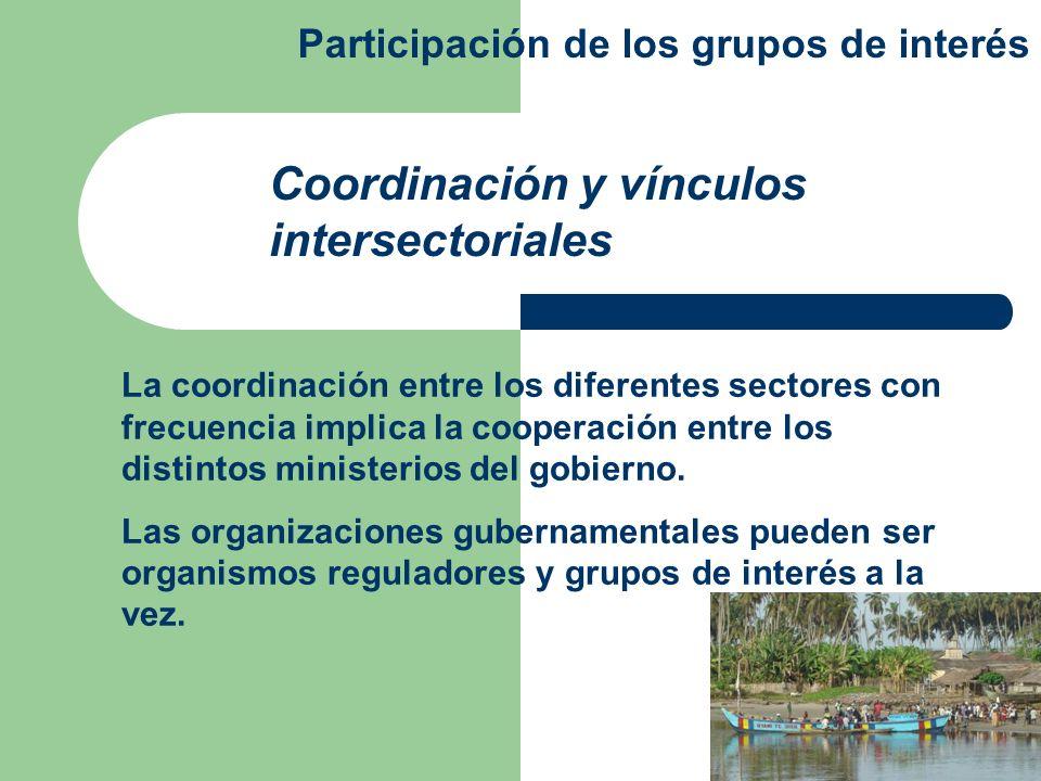 La coordinación entre los diferentes sectores con frecuencia implica la cooperación entre los distintos ministerios del gobierno. Las organizaciones g
