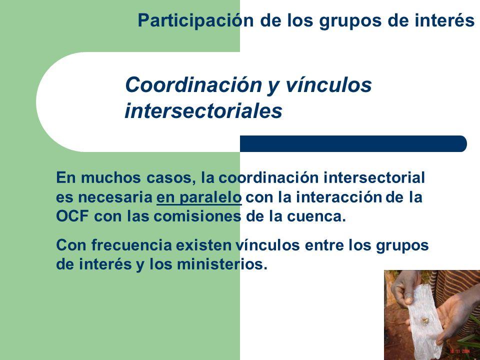 En muchos casos, la coordinación intersectorial es necesaria en paralelo con la interacción de la OCF con las comisiones de la cuenca. Con frecuencia