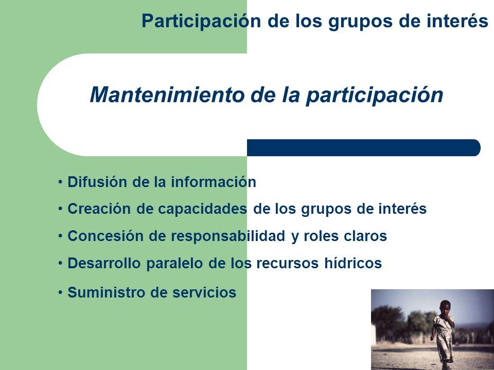 Difusión de la información Creación de capacidades de los grupos de interés Concesión de responsabilidad y roles claros Desarrollo paralelo de los rec