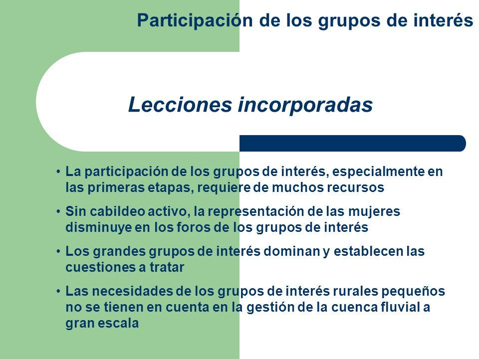 La participación de los grupos de interés, especialmente en las primeras etapas, requiere de muchos recursos Sin cabildeo activo, la representación de
