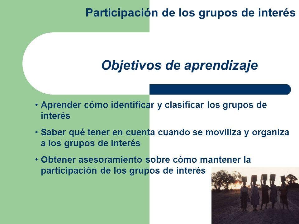 Aprender cómo identificar y clasificar los grupos de interés Saber qué tener en cuenta cuando se moviliza y organiza a los grupos de interés Obtener a