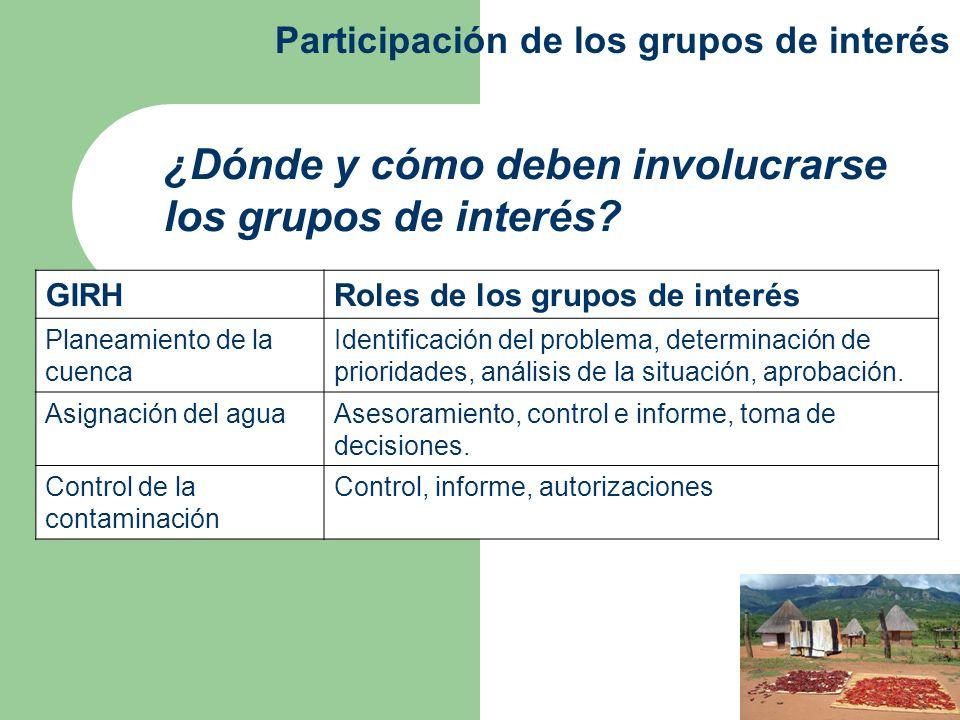 ¿Dónde y cómo deben involucrarse los grupos de interés? Participación de los grupos de interés GIRHRoles de los grupos de interés Planeamiento de la c