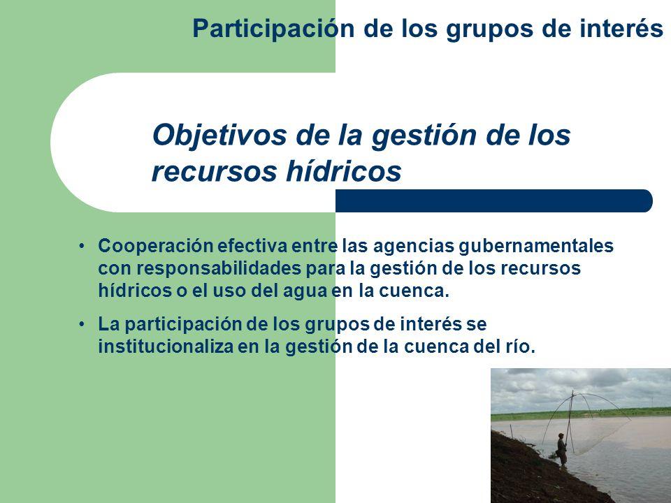 Cooperación efectiva entre las agencias gubernamentales con responsabilidades para la gestión de los recursos hídricos o el uso del agua en la cuenca.