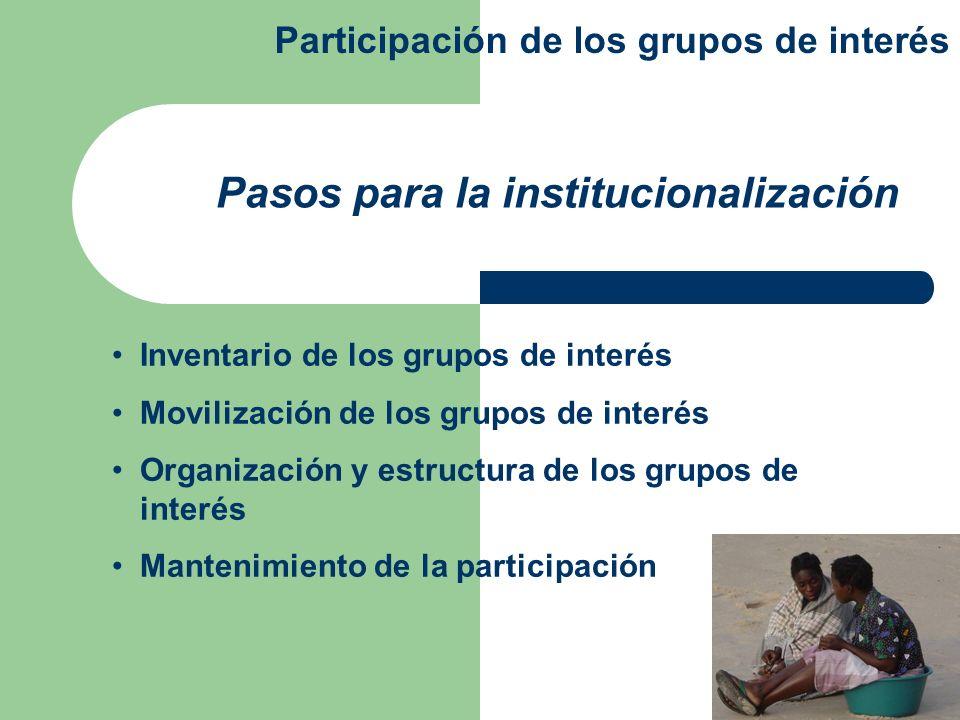 Inventario de los grupos de interés Movilización de los grupos de interés Organización y estructura de los grupos de interés Mantenimiento de la parti