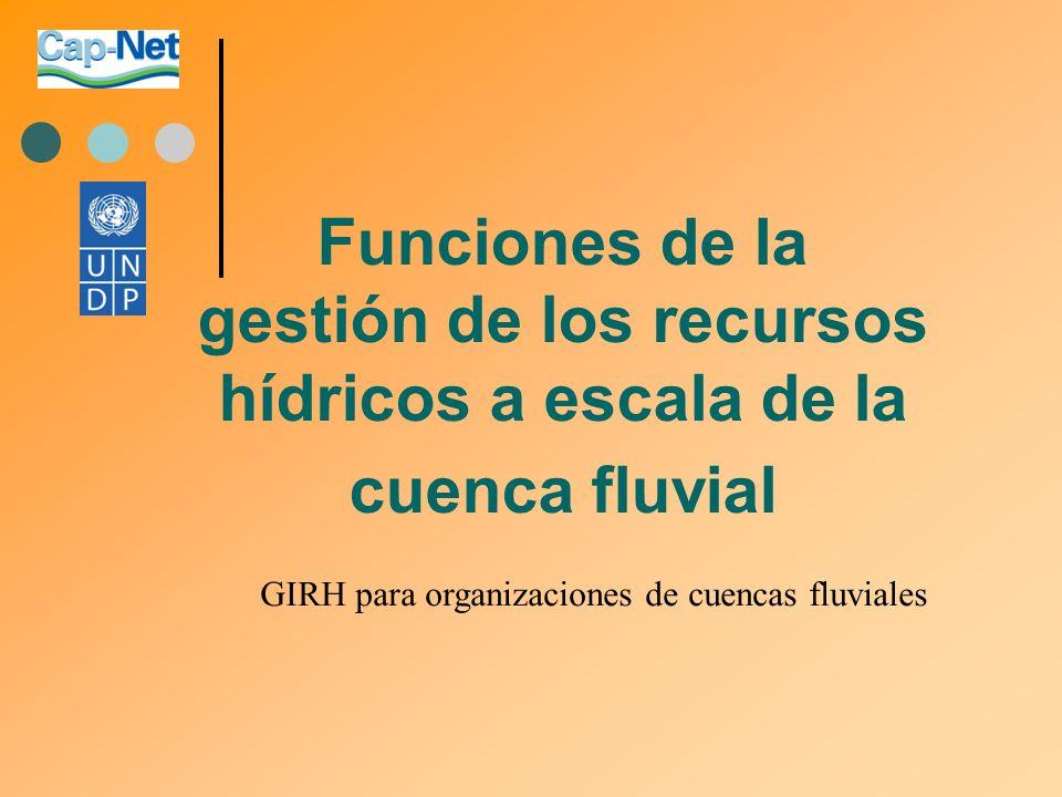 Funciones de la gestión de los recursos hídricos a escala de la cuenca fluvial GIRH para organizaciones de cuencas fluviales