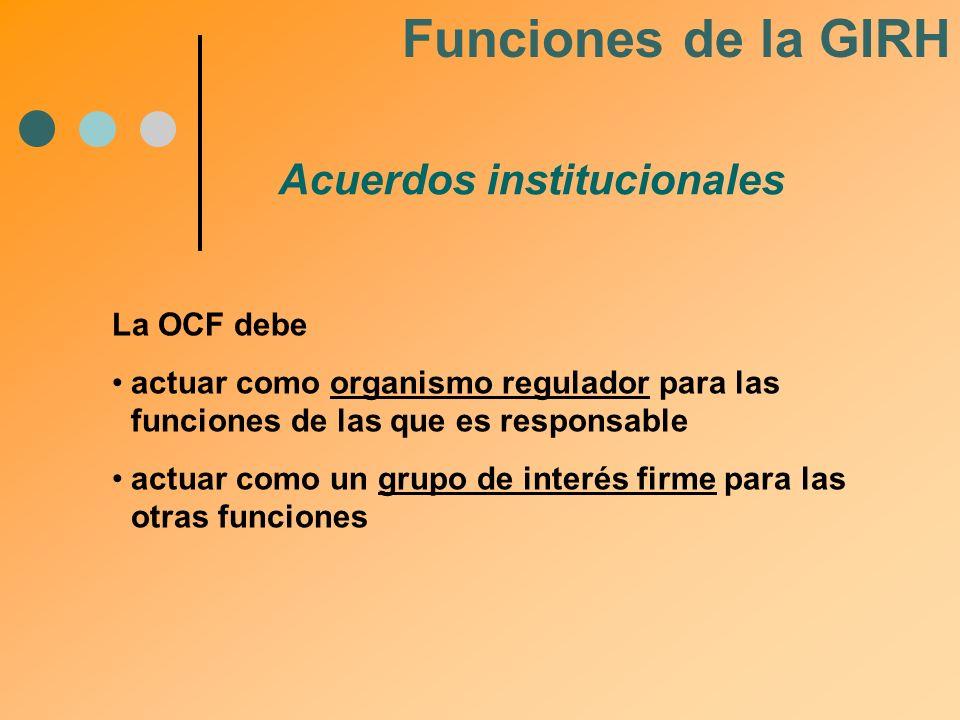 Acuerdos institucionales Funciones de la GIRH La OCF debe actuar como organismo regulador para las funciones de las que es responsable actuar como un