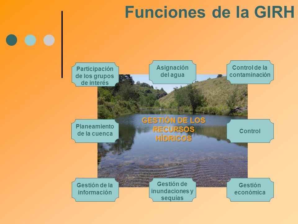 Participación de los grupos de interés Asignación del agua Control de la contaminación Gestión de la información Gestión económica Gestión de inundaci