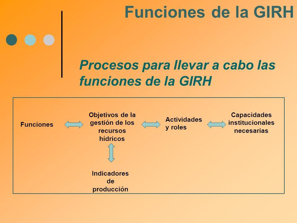 Procesos para llevar a cabo las funciones de la GIRH Funciones Objetivos de la gestión de los recursos hídricos Actividades y roles Capacidades instit
