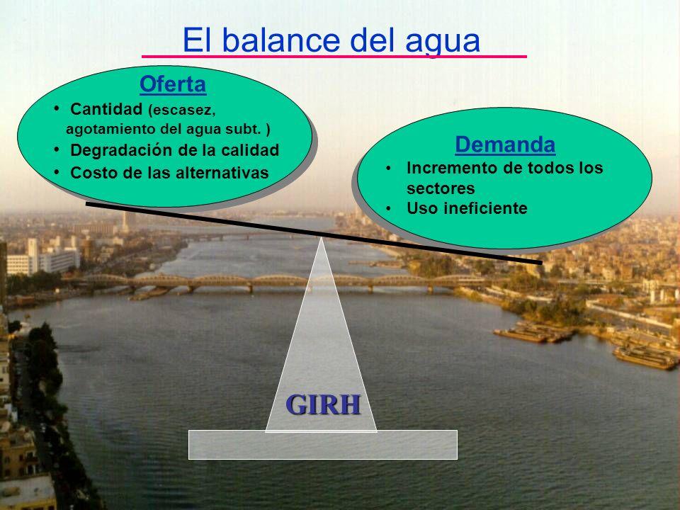 El balance del agua Demanda Incremento de todos los sectores Uso ineficiente Oferta Cantidad (escasez, agotamiento del agua subt. ) Degradación de la