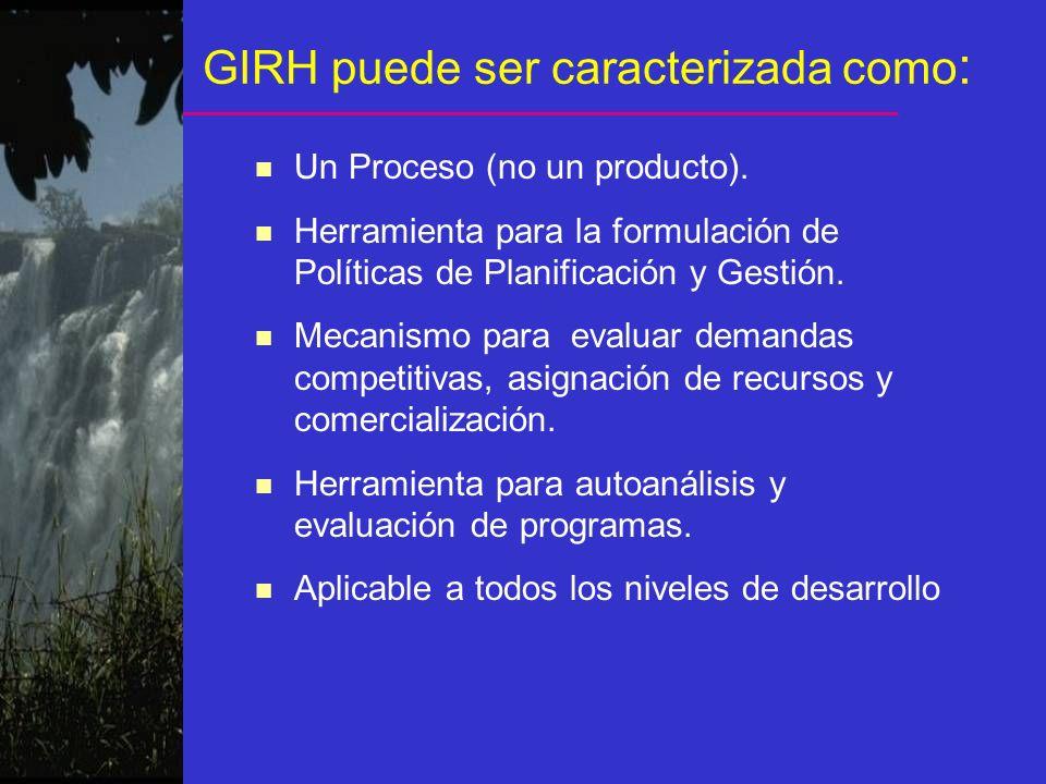 GIRH puede ser caracterizada como : n Un Proceso (no un producto). n Herramienta para la formulación de Políticas de Planificación y Gestión. n Mecani