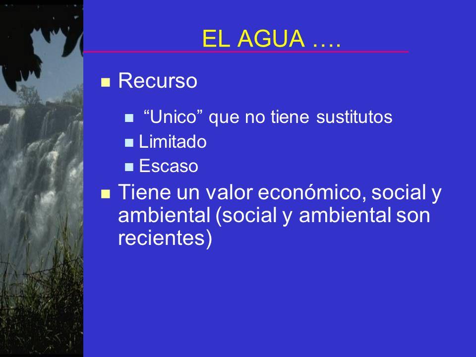 EL AGUA …. n Recurso Unico que no tiene sustitutos Limitado Escaso n Tiene un valor económico, social y ambiental (social y ambiental son recientes)