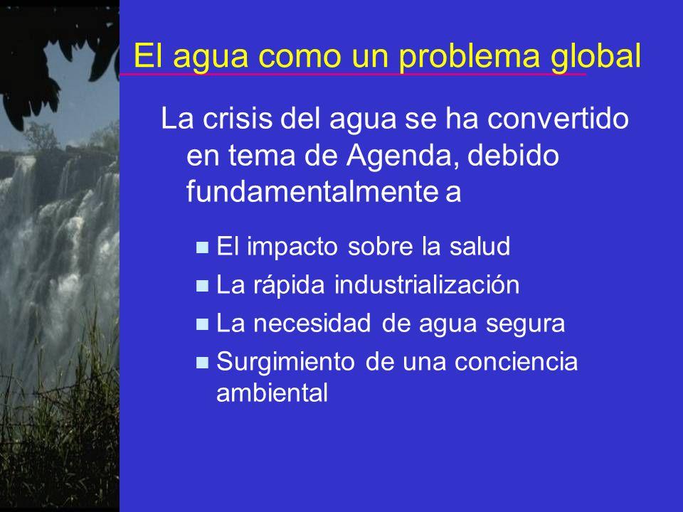 El agua como un problema global La crisis del agua se ha convertido en tema de Agenda, debido fundamentalmente a El impacto sobre la salud La rápida i