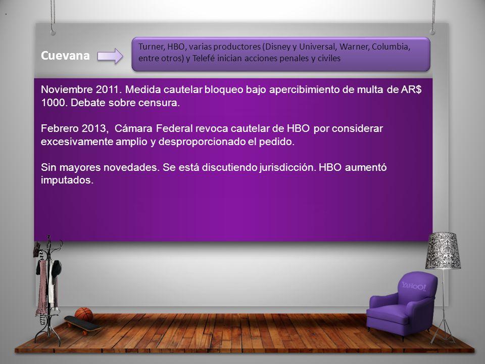 Cuevana Noviembre 2011. Medida cautelar bloqueo bajo apercibimiento de multa de AR$ 1000.
