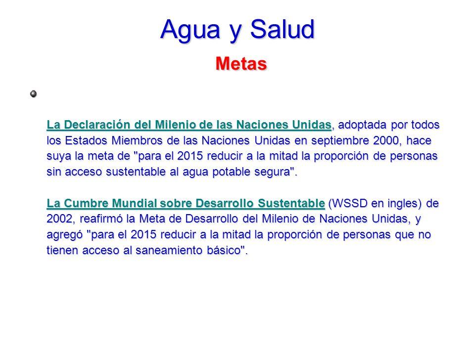 Agua y Salud Metas La Declaración del Milenio de las Naciones UnidasLa Declaración del Milenio de las Naciones Unidas, adoptada por todos los Estados