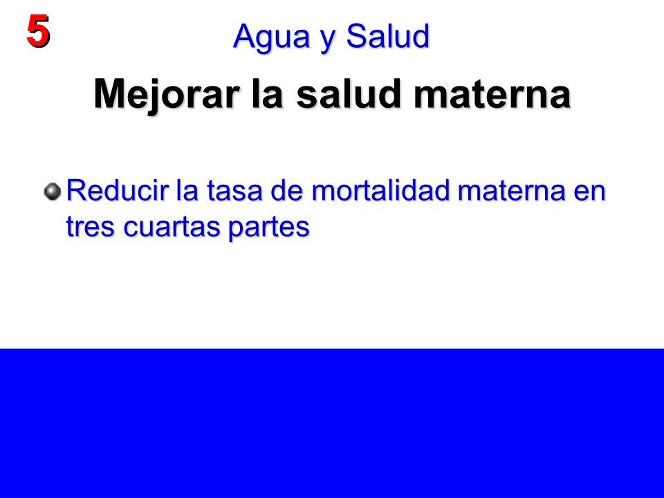Mejorar la salud materna Reducir la tasa de mortalidad materna en tres cuartas partes 5 5 Agua y Salud
