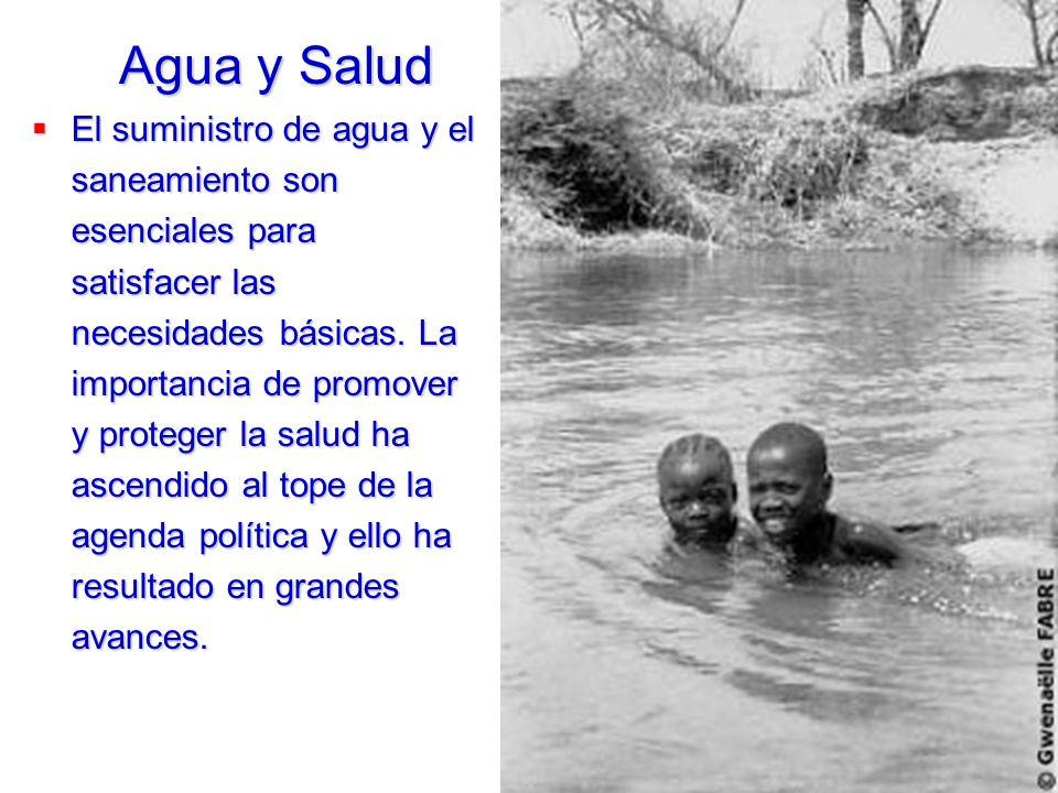 El suministro de agua y el saneamiento son esenciales para satisfacer las necesidades básicas. La importancia de promover y proteger la salud ha ascen