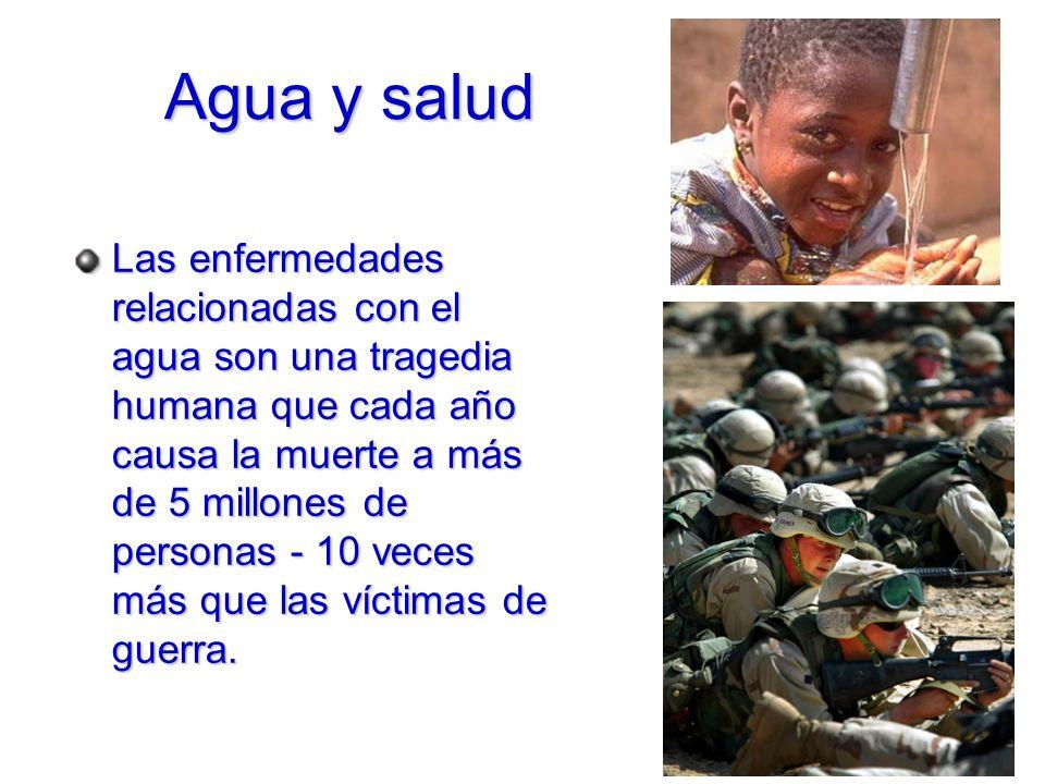 Agua y salud Las enfermedades relacionadas con el agua son una tragedia humana que cada año causa la muerte a más de 5 millones de personas - 10 veces