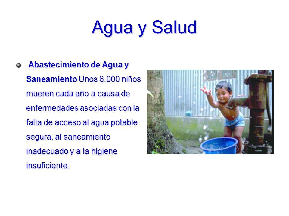 Abastecimiento de Agua y Saneamiento Unos 6.000 niños mueren cada año a causa de enfermedades asociadas con la falta de acceso al agua potable segura,