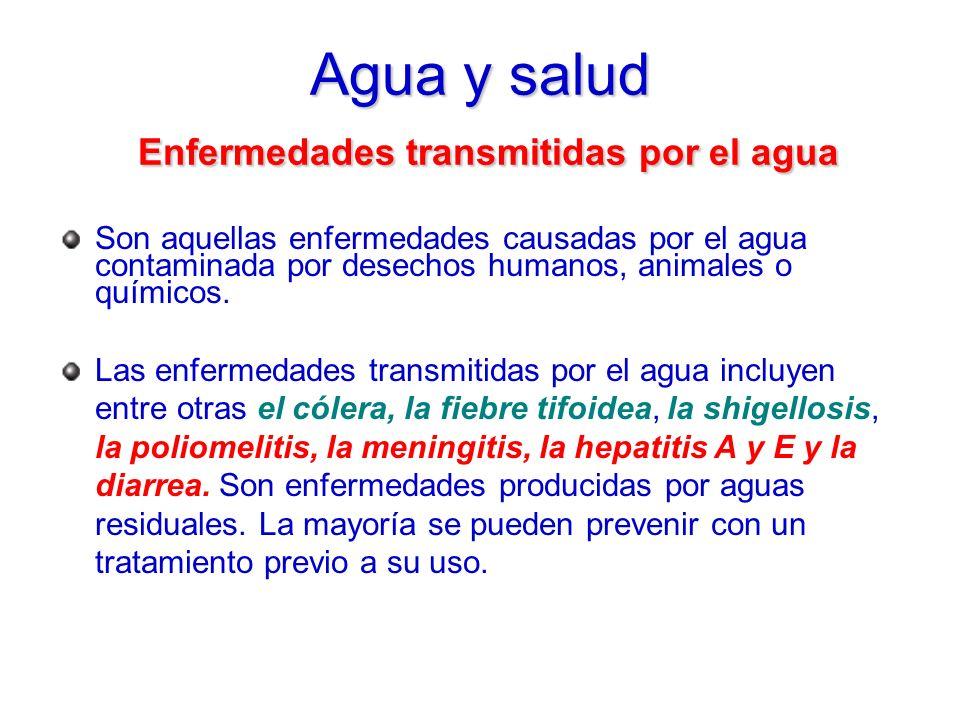 Agua y salud Enfermedades transmitidas por el agua Son aquellas enfermedades causadas por el agua contaminada por desechos humanos, animales o químico