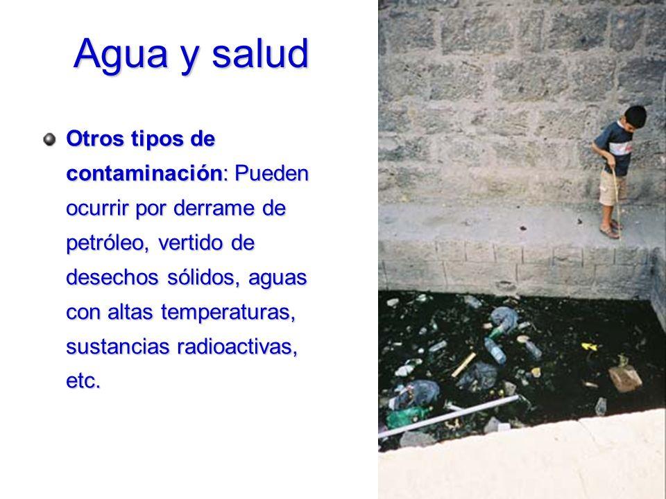 Otros tipos de contaminación: Pueden ocurrir por derrame de petróleo, vertido de desechos sólidos, aguas con altas temperaturas, sustancias radioactiv