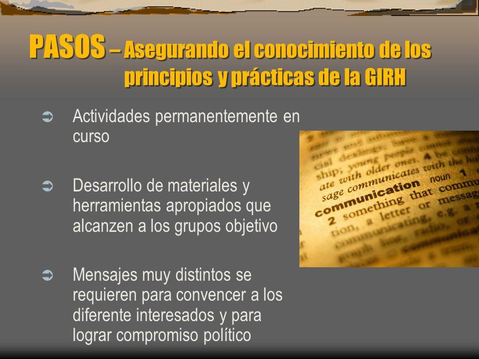 PASOS – Asegurando el conocimiento de los principios y prácticas de la GIRH Actividades permanentemente en curso Desarrollo de materiales y herramient
