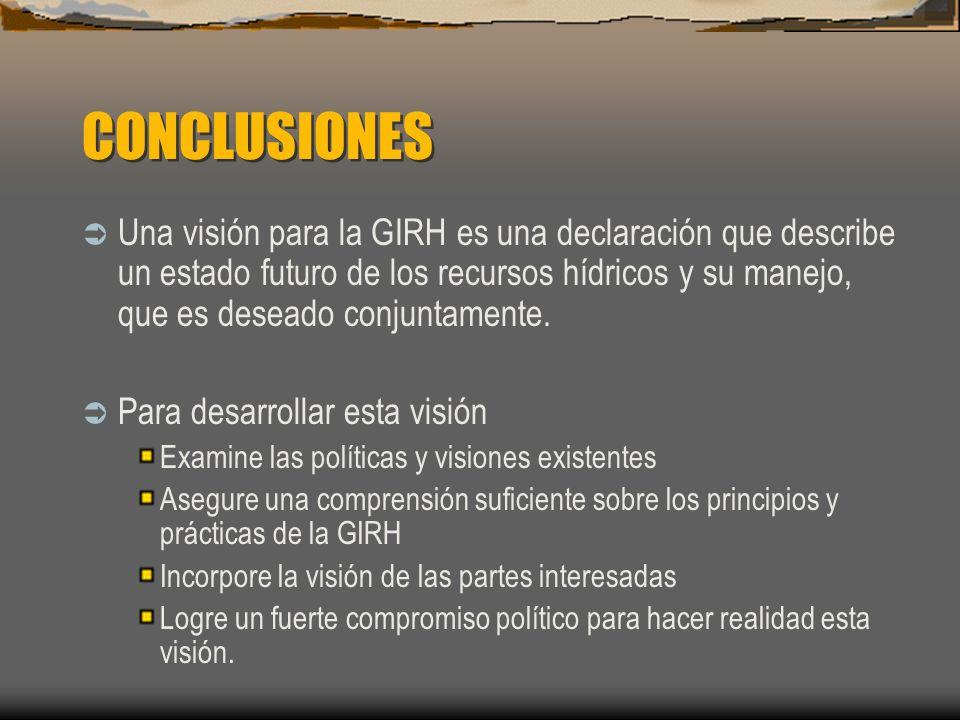 CONCLUSIONES Una visión para la GIRH es una declaración que describe un estado futuro de los recursos hídricos y su manejo, que es deseado conjuntamen