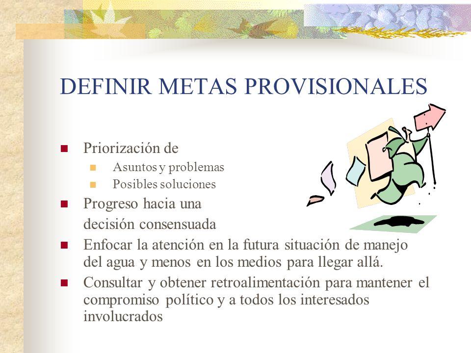 DEFINIR METAS PROVISIONALES Priorización de Asuntos y problemas Posibles soluciones Progreso hacia una decisión consensuada Enfocar la atención en la