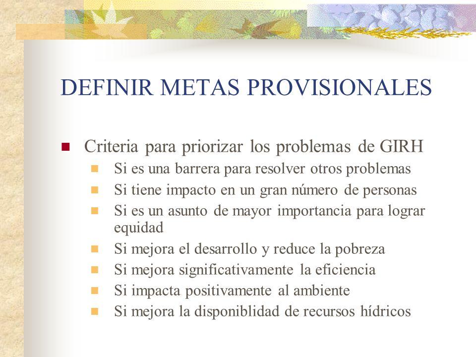 DEFINIR METAS PROVISIONALES Criteria para priorizar los problemas de GIRH Si es una barrera para resolver otros problemas Si tiene impacto en un gran