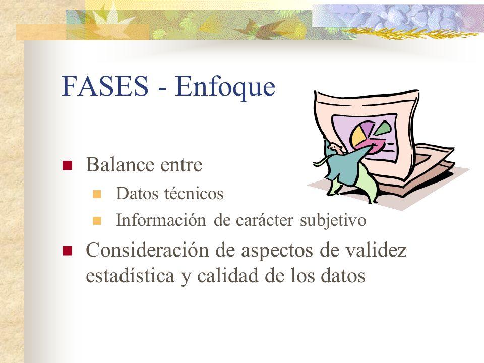 FASES - Enfoque Balance entre Datos técnicos Información de carácter subjetivo Consideración de aspectos de validez estadística y calidad de los datos