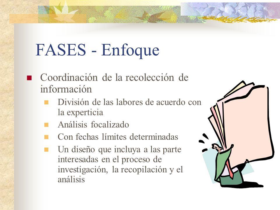 FASES - Enfoque Coordinación de la recolección de información División de las labores de acuerdo con la experticia Análisis focalizado Con fechas lími