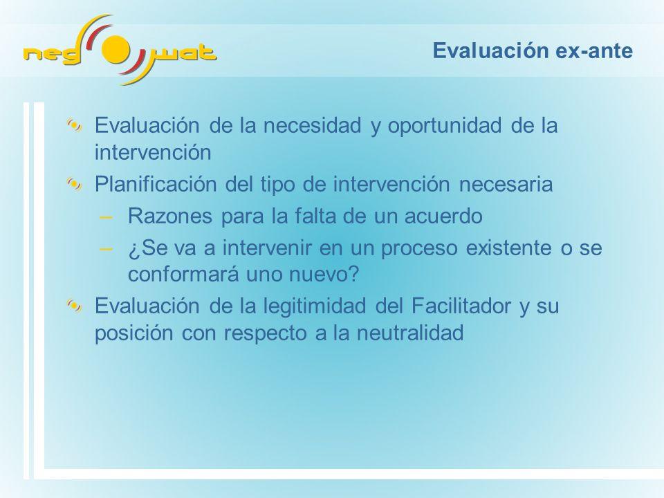 Evaluación ex-ante Evaluación de la necesidad y oportunidad de la intervención Planificación del tipo de intervención necesaria –Razones para la falta de un acuerdo –¿Se va a intervenir en un proceso existente o se conformará uno nuevo.