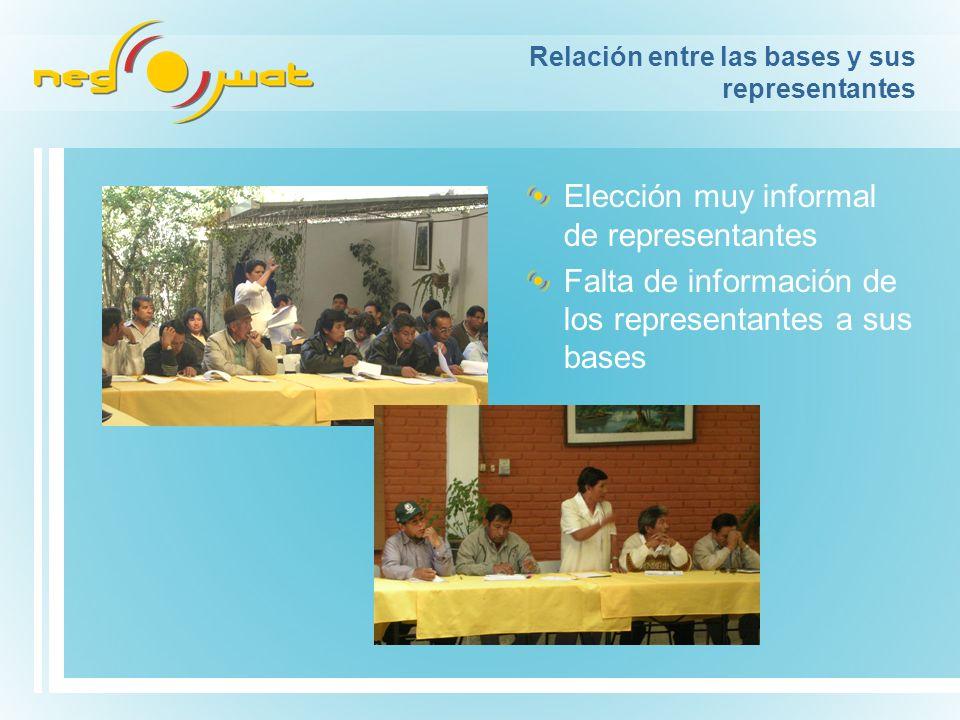 Relación entre las bases y sus representantes Elección muy informal de representantes Falta de información de los representantes a sus bases
